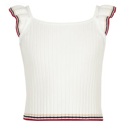 Girls white knitted frill top
