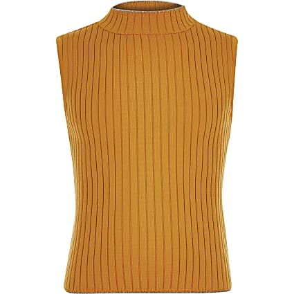 Girls yellow rib turtle neck tank top