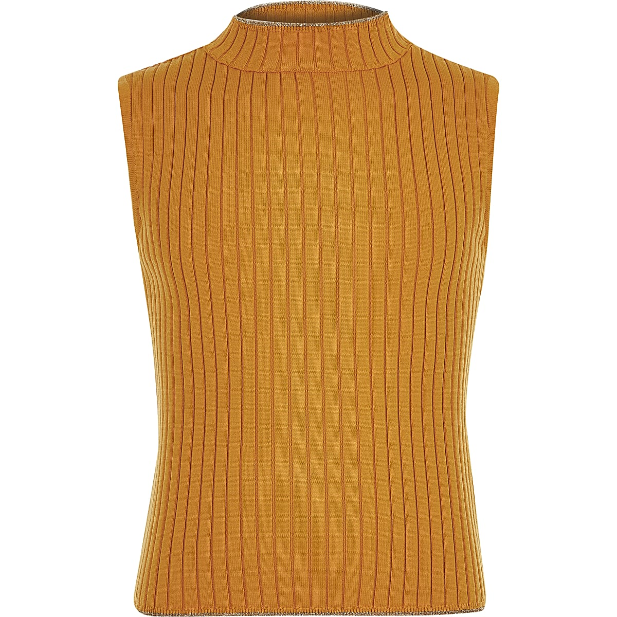 Girls yellow rib turtle neck tank top