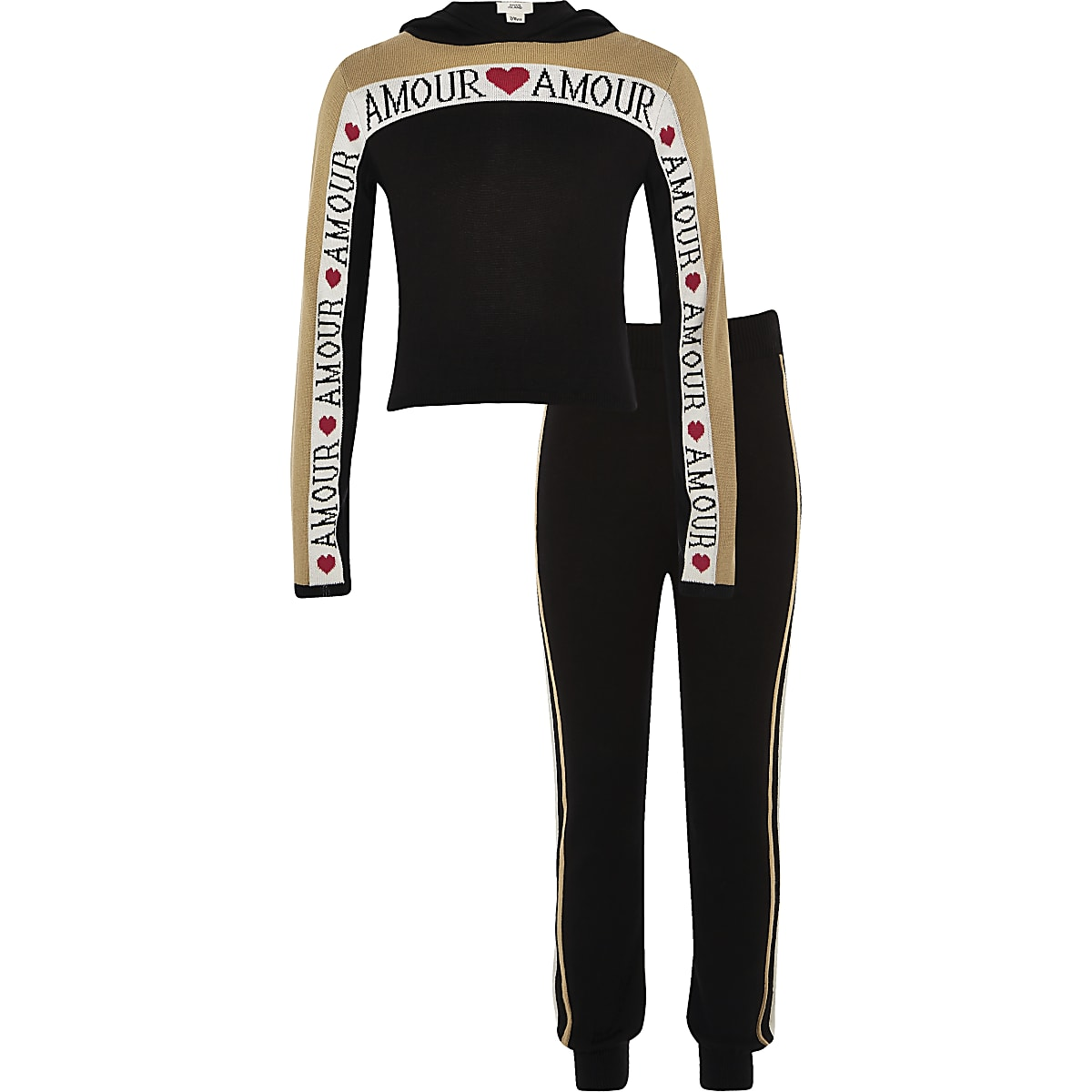 Zwarte gebreide hoodie-outfit met 'Amour'-print voor meisjes