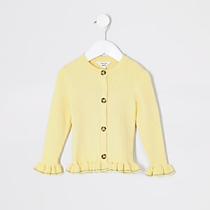 Mini girls yellow ribbed frill hem cardigan