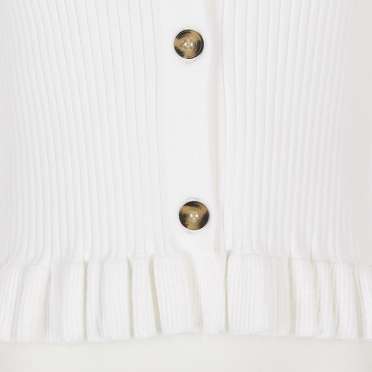 045cc895c41f12 Girls white ribbed frill hem cardigan - Cardigans / Jumpers - Tops ...