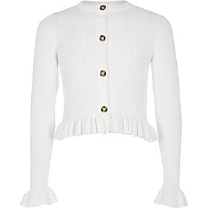 Girls white ribbed frill hem cardigan