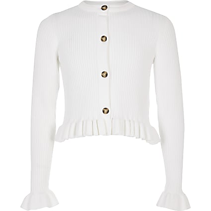 Girls white ribbed frill hem cardigan