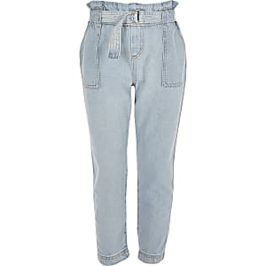 Girls light blue paperbag waist jeans