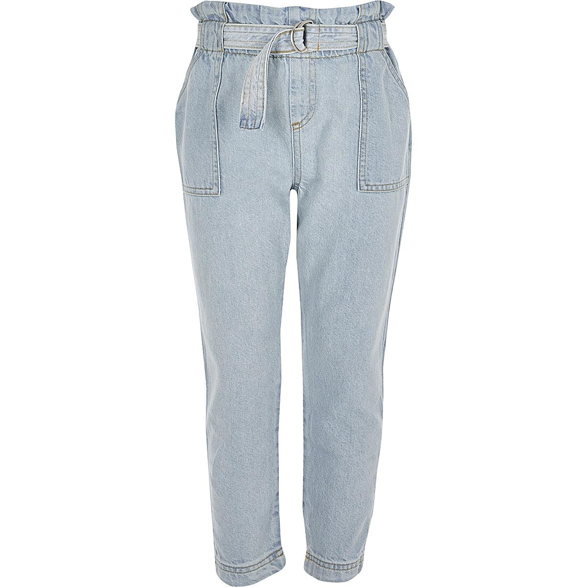 Lichtblauwe jeans met geplooide taille voor meisjes