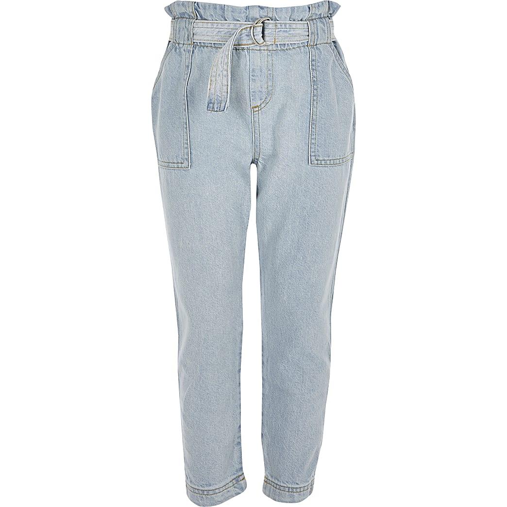 Girls light blue paperbag waist jeans