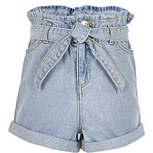 Short bleu clair à taille haute ceinturée pour fille