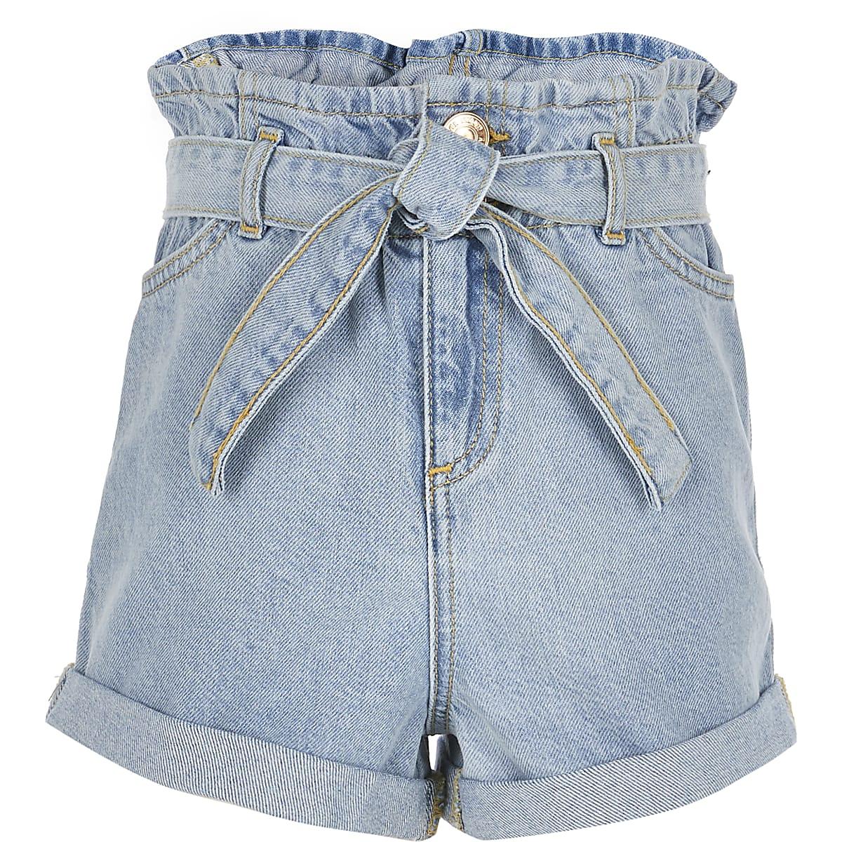 Girls light blue paperbag waist shorts