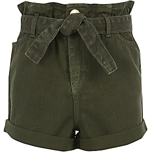 Girls khaki paperbag denim shorts