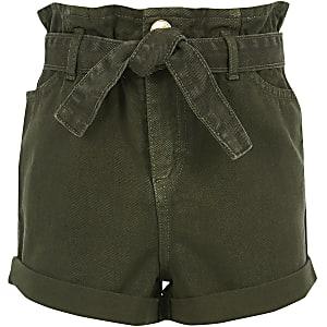 Kaki denim short met geplooide taille voor meisjes