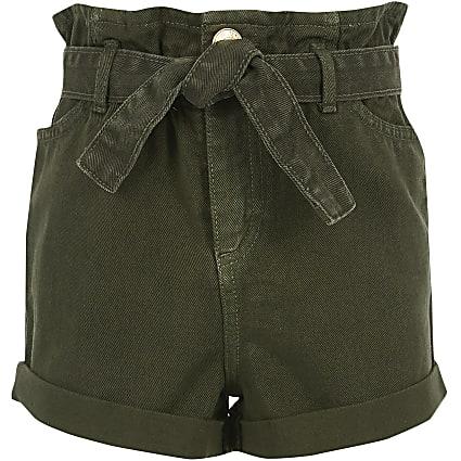 Girls khaki paperbag denim shorts