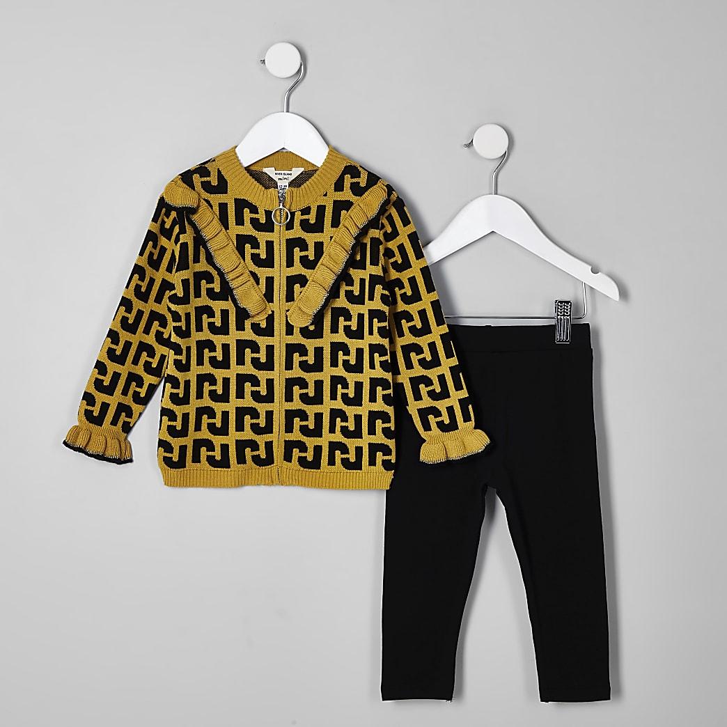 Mini girls yellow RI zip cardigan outfit