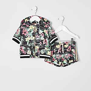 Mini - Outfit met roze hoodie met bloemenprint en rits voor meisjes