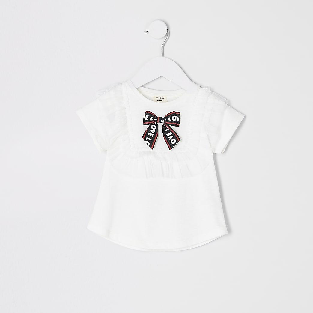 Mini girls white mesh bow T-shirt