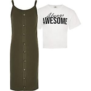Kaki 2-in-1 T-shirtjurk voor meisjes