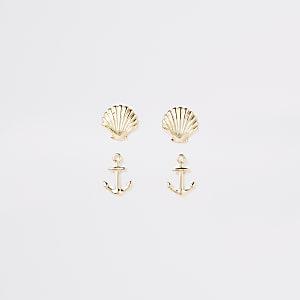 Goldene Ohrringe mit Anker, Set