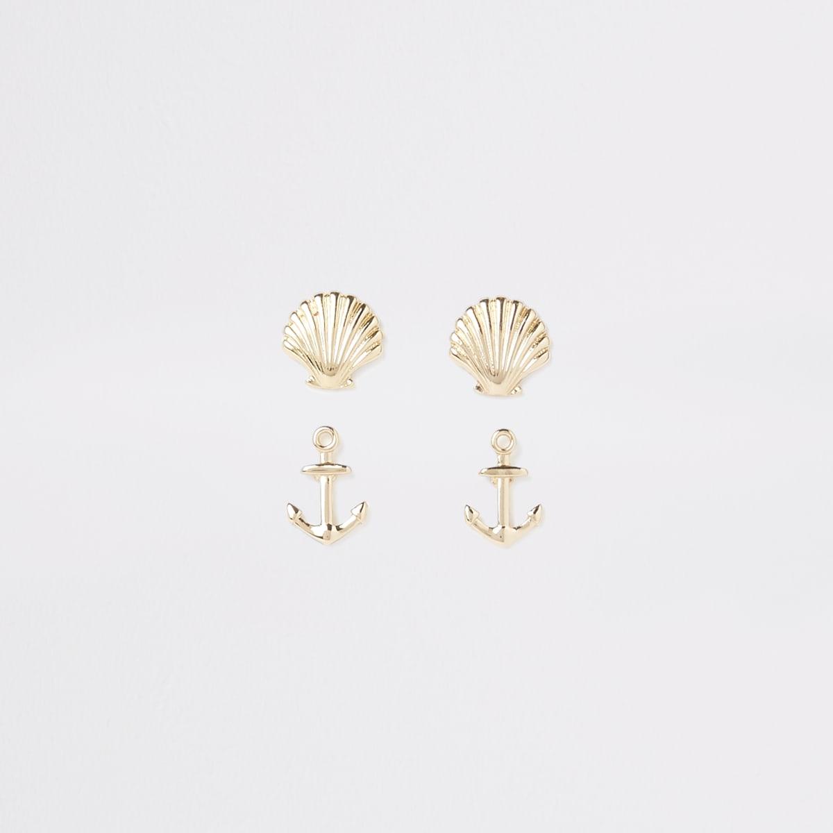 Gold tone anchor earrings multipack
