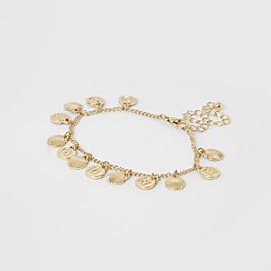 Goudkleurig enkelbandje met schelpjes en RI-print voor meisjes
