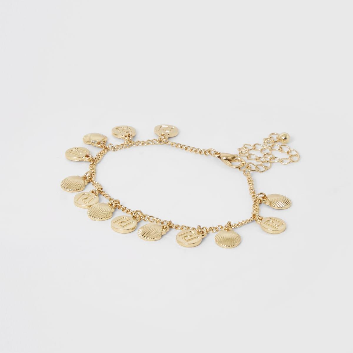 Girls gold colour RI shell anklet