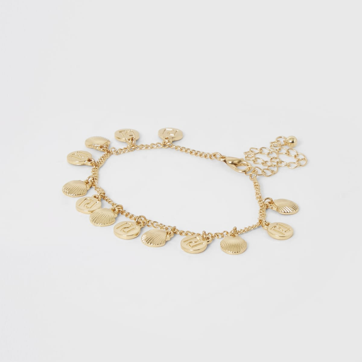 Girls gold color RI shell anklet