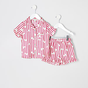 Mini girls pink satin printed pyjama set