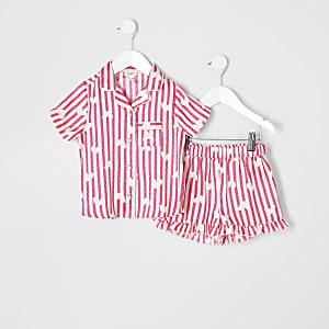 Mini - Roze satijnen pyjamaset met print voor meisjes