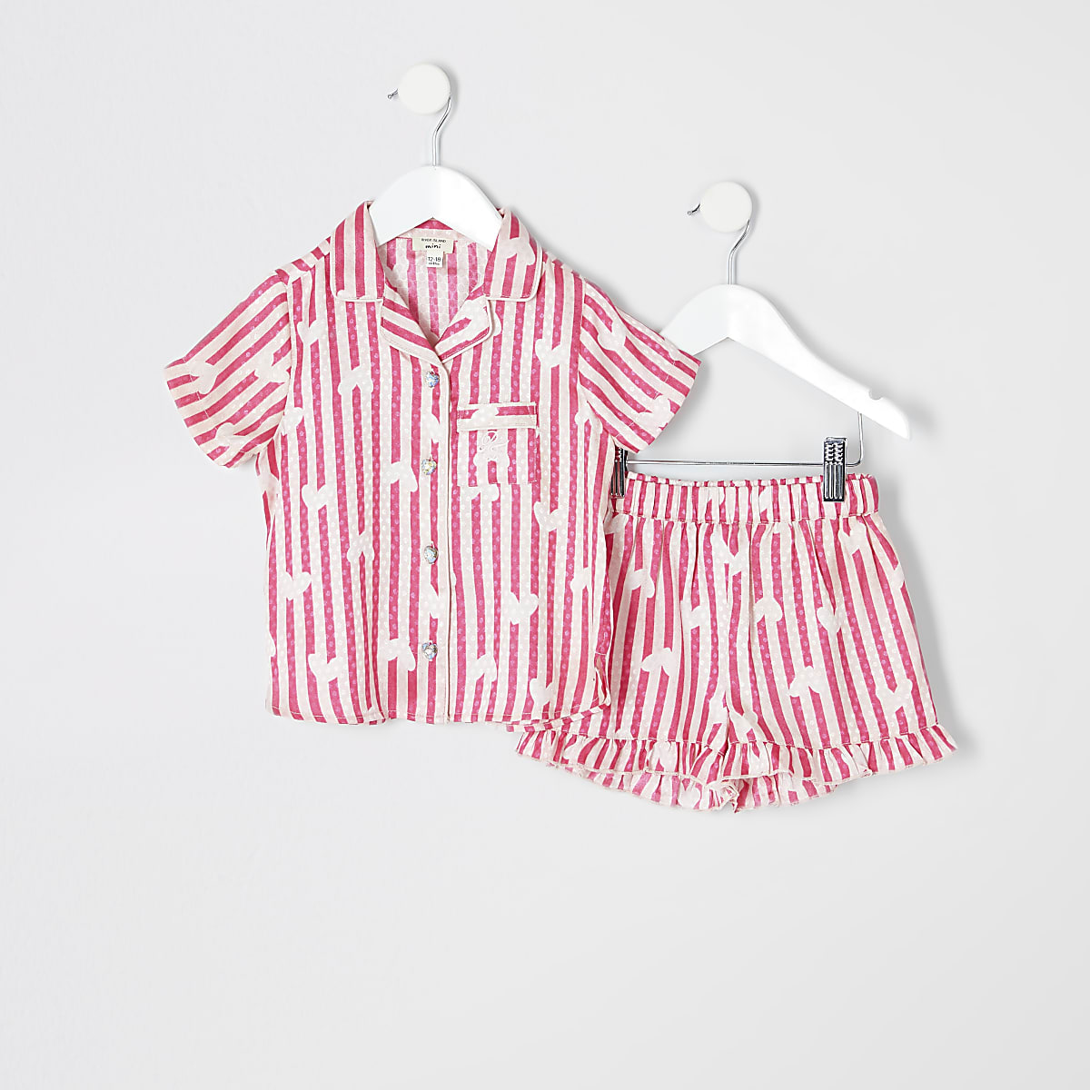 Mini girls pink satin printed pajama set