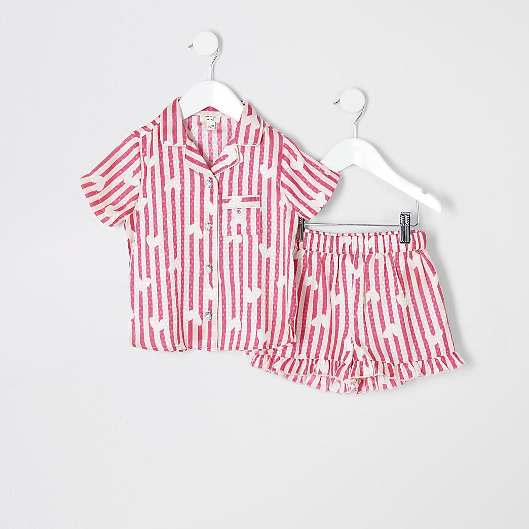 Mini girls pink satin printed pyjama set