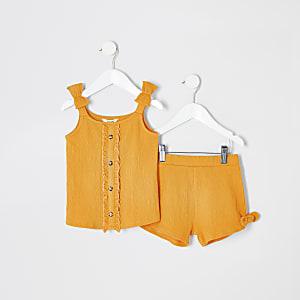 Mini - Gele gesmokte cami-outfit voor meisjes