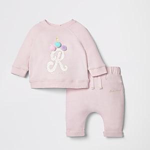 Ensemble pantalon de jogging et sweat motif licorne rose pour bébé