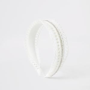 Girls white crochet headband