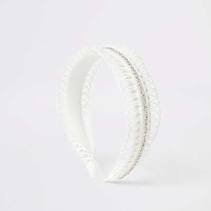 Girls white crochet headband