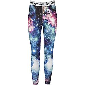 Hype - Zwarte legging met ruimteprint voor meisjes