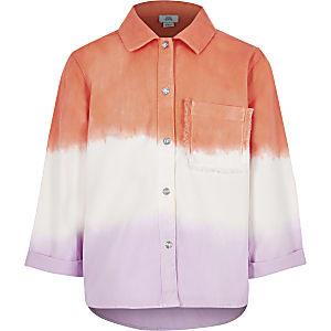 Veste-chemise rose effet dégradé pour fille