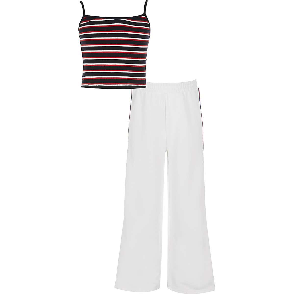 Girls white stripe jogger outfit