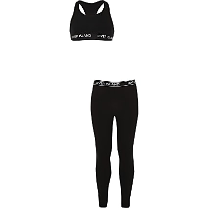 Girls black racer neck top outfit