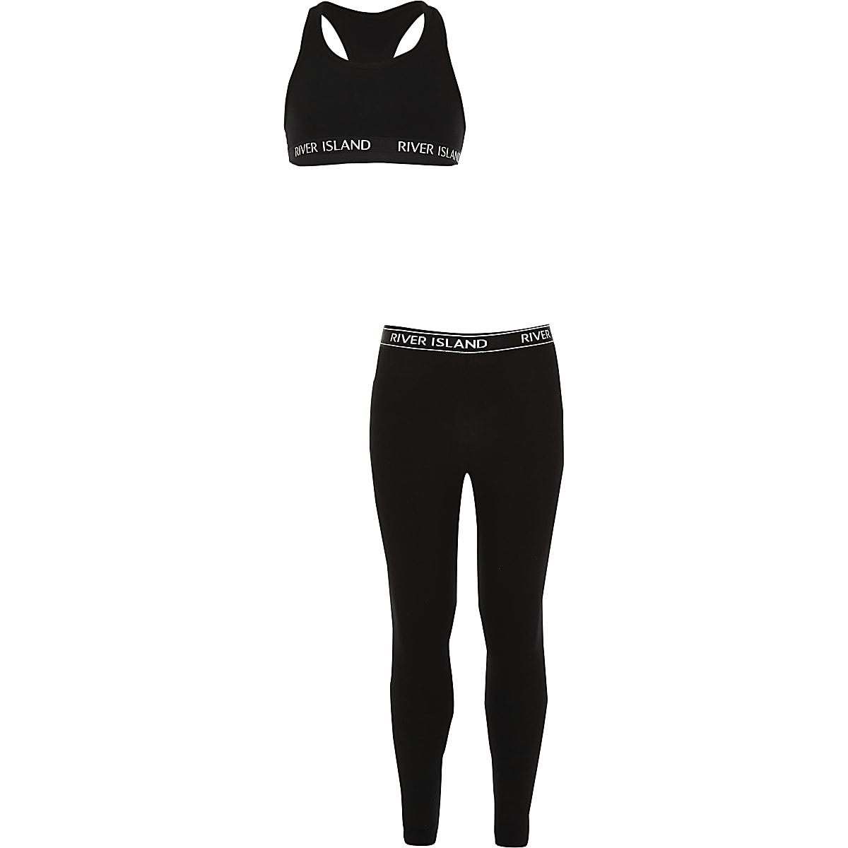 Outfit met zwarte top met racernek voor meisjes