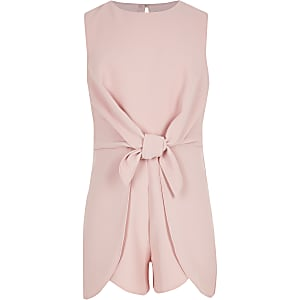 Girls pink tie front playsuit