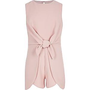 Girls pink tie front romper