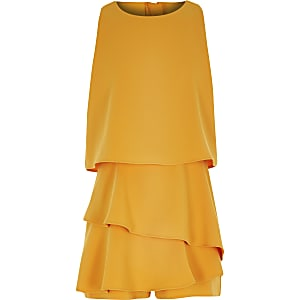 Girls yellow frill tiered romper