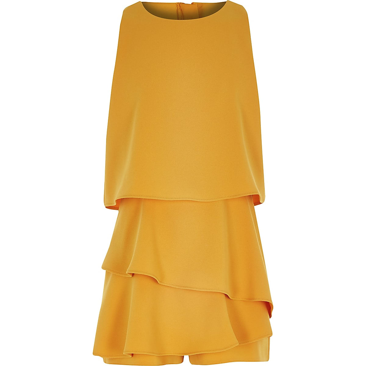Girls yellow frill tiered playsuit