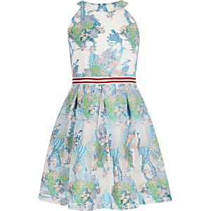 Robe de gala en maille à fleurs bleue pour fille