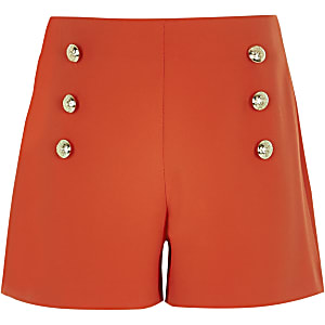 Girls red military shorts