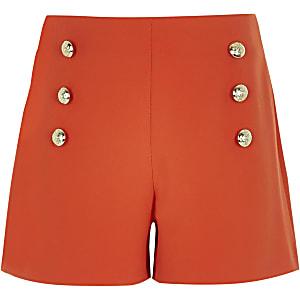 Rode short in legerlook voor meisjes
