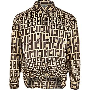 Bruin oversized overhemd met RI-monogram voor meisjes