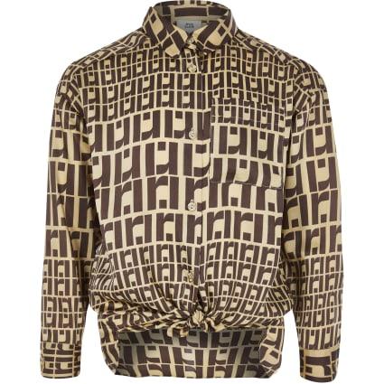 Girls brown RI monogram oversized shirt