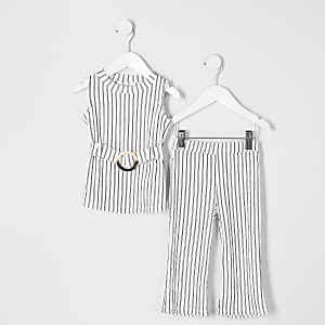 Mini girls white stripe tunic top outfit