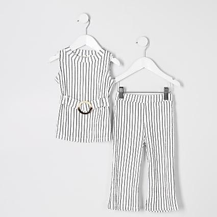 Mini girls white stripe tunic top outfit