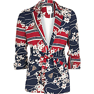 Girls red mixed print belted blazer